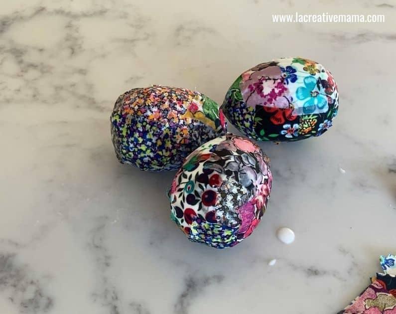 decorated easter eggs using fabric scraps