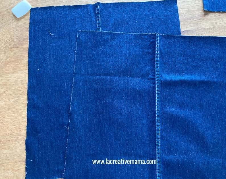 flat pieces of denim fabric ready to be sewn into a tote bag