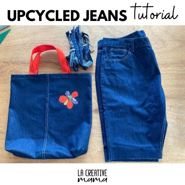 upcycled jeans into a denim tote bag