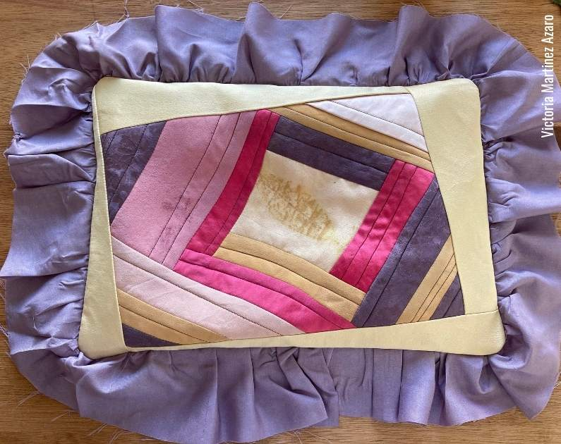 quilt as you go log cabin with wonky sashing pillow