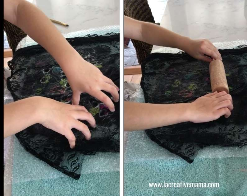 rubbing the wet felt project with soapy water