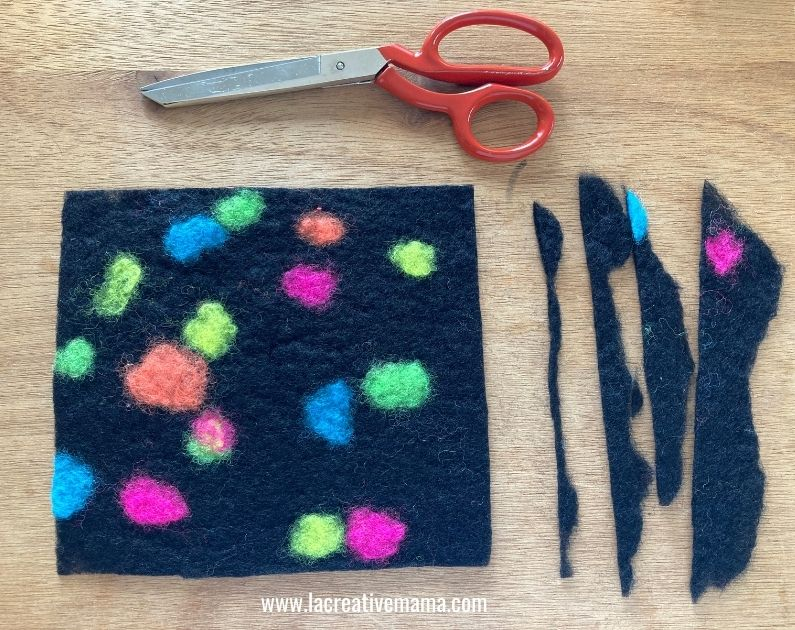 black wool felted project