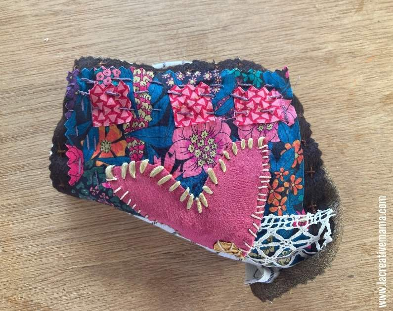 turning the embroidered patch pocket inside out