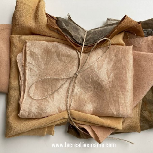 naturally dyed fabric using avocado skins and pits