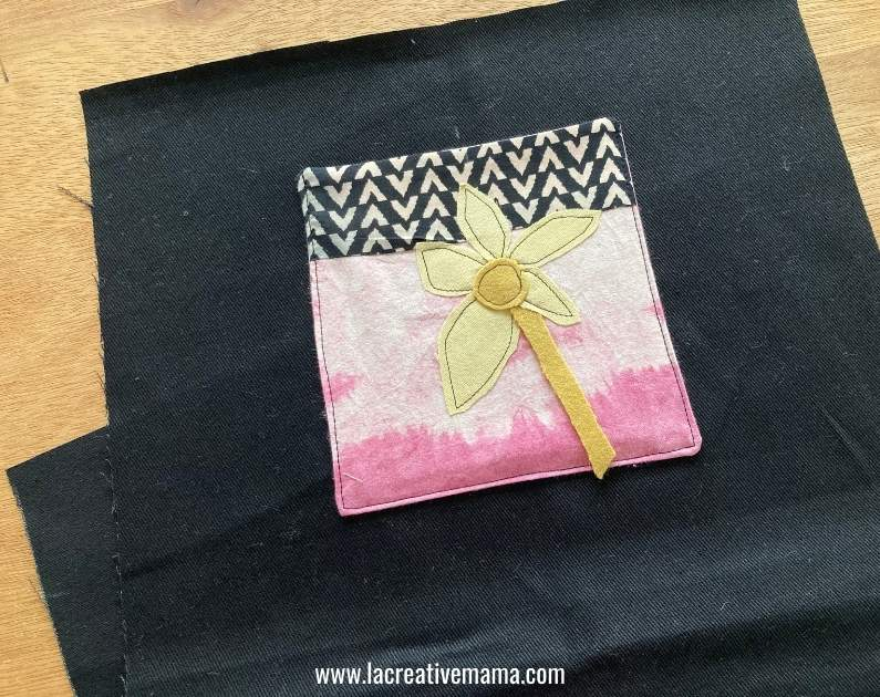 sewing the applique pocket to the grocery foldable bag