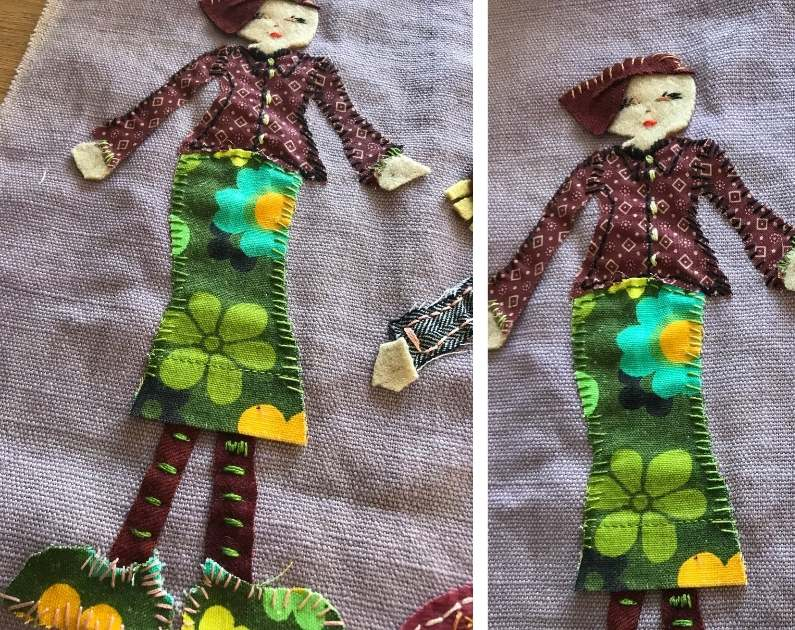 using an embroidery  whip stich to sew the patch to the base fabric