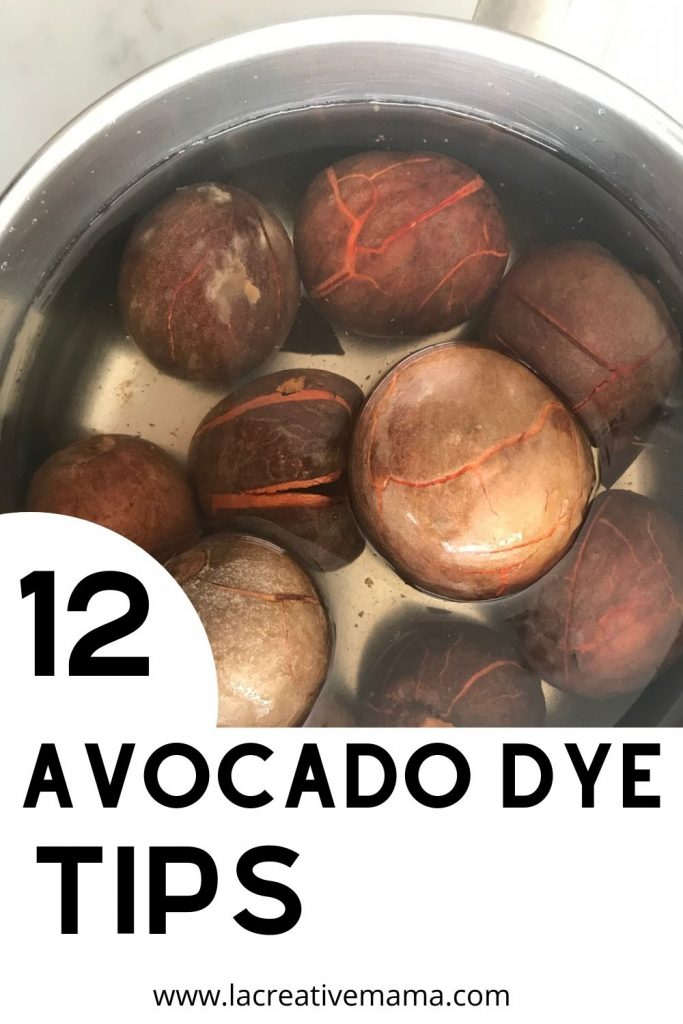 avocado pits being steeped in water overnight in order to extract the pink avocado dye by simmering it