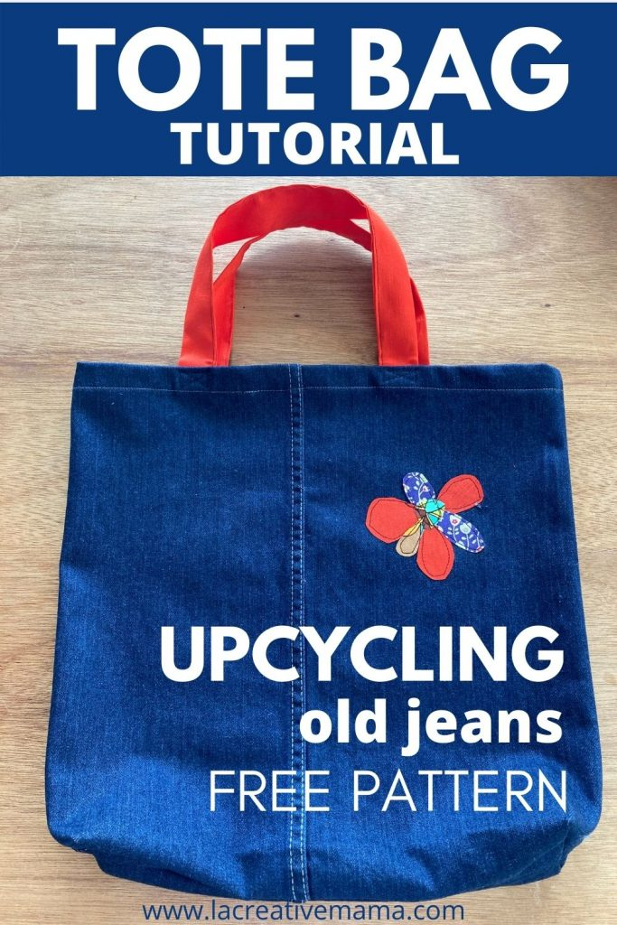 how to upcycle old jeans into a denim tote bag with flat bottom