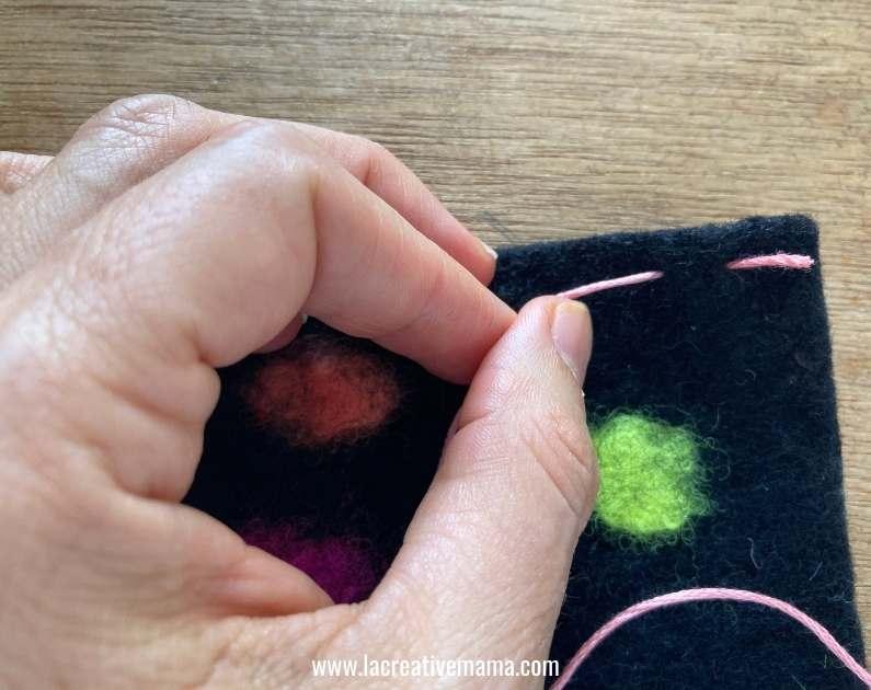 embroidered felt using a backstitch