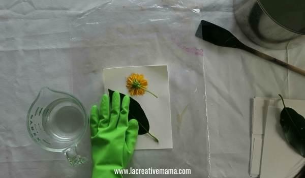 making an eco print bundle of paper