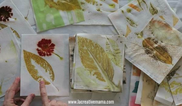 eco printing on paper using different techniques to make gift cards