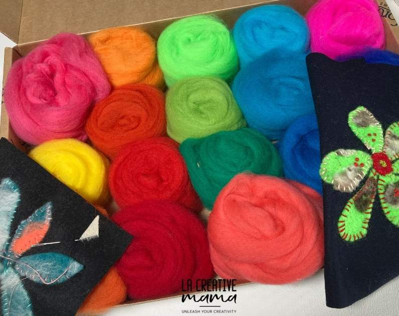 wool roving in different colors
