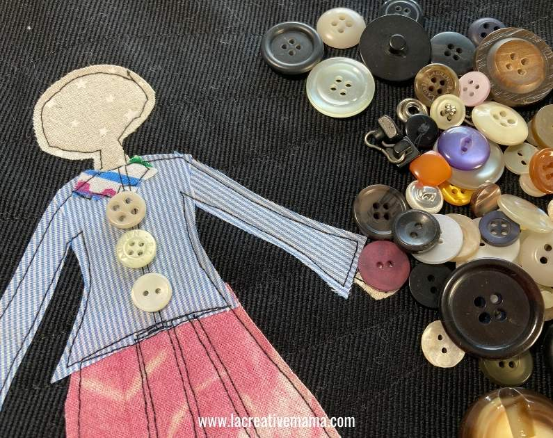 sewing an applique using iron on fusing techniques. Using fabric scraps, upcycled buttons  and embroidery to create a beautiful applique design using la creative mama applique patterns.