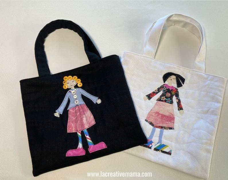 finished white and black cotton quilted bag with fabric scraps applique from La Creative Mama