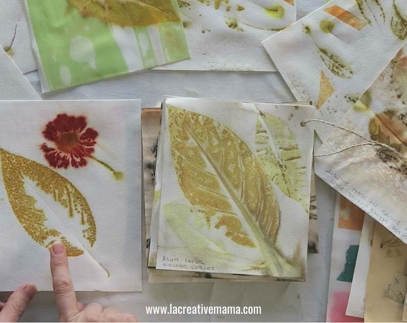samples of different eco printed paper using flowers and leaves