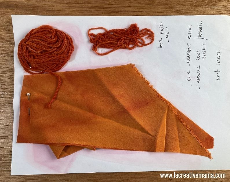 yarn and silk fabric dyed using tumeric and madder as natural dyes