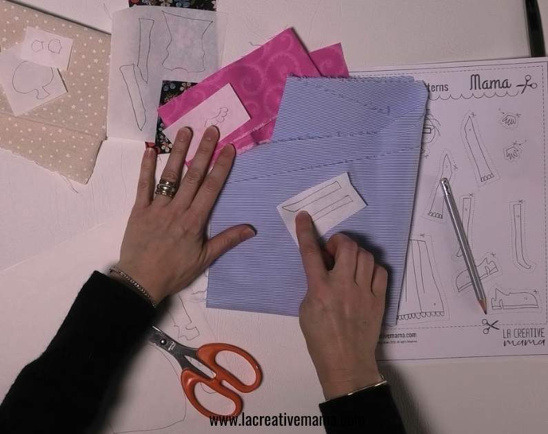 tracing the applique pattern to make fabric applique