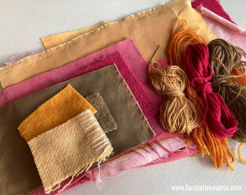naturally dyed fabric scraps.