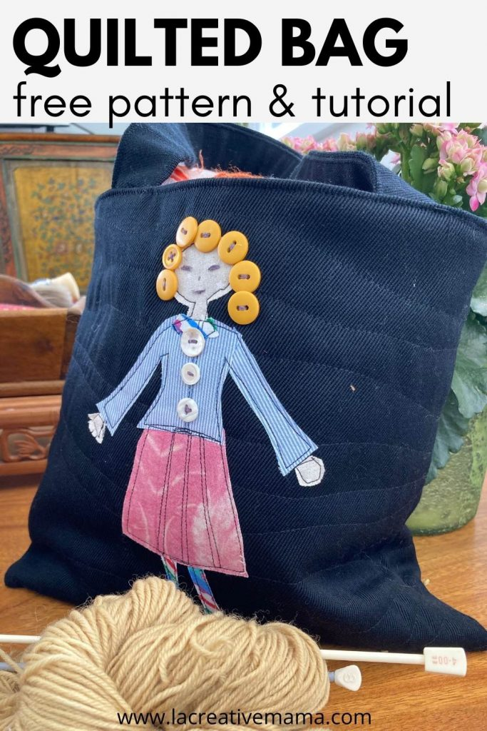 quilted applique tote bag tutorial using fabric scraps, upcycled buttons and embroidery stitches.