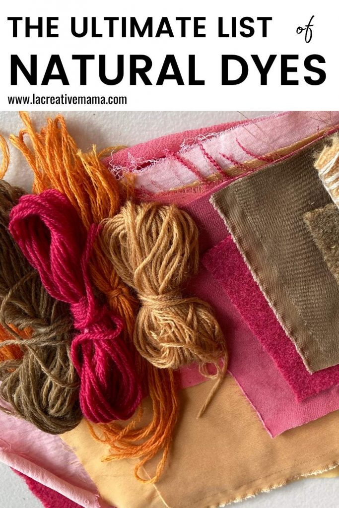 naturally dyed yarn and fabric using eucalyptus, cochineal and onion.