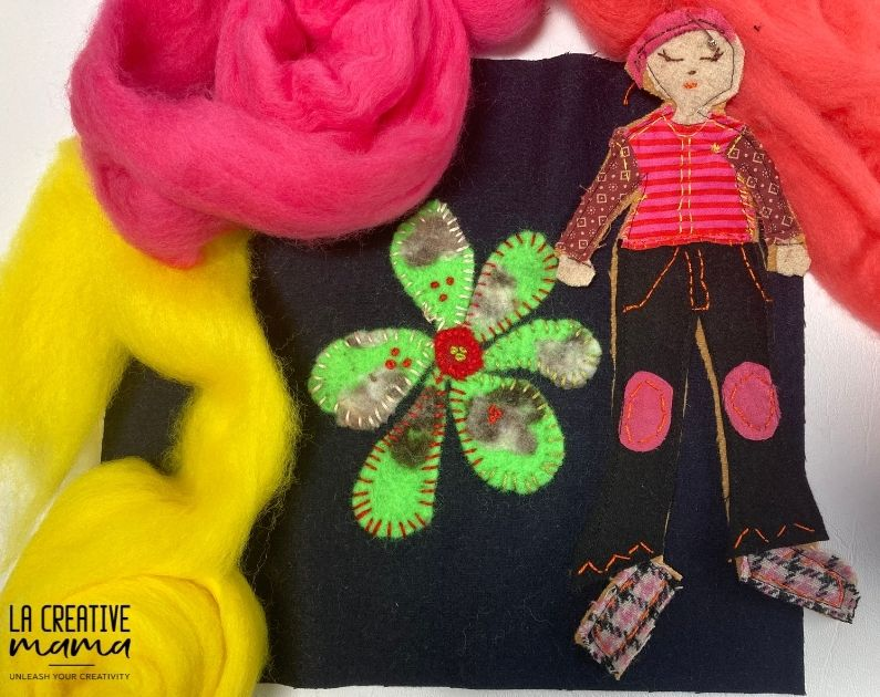 felt applique flower, wool roving and an embroidered patch.