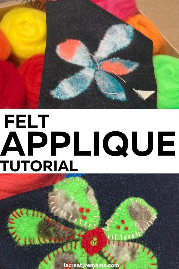 felt applique flower and wool roving