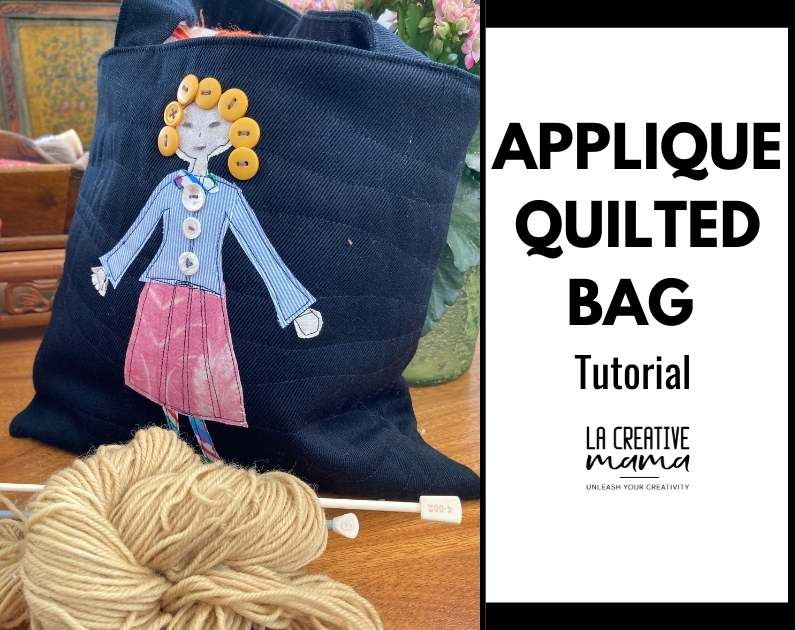 finished black cotton quilted bag with fabric scraps applique from La Creative Mama
