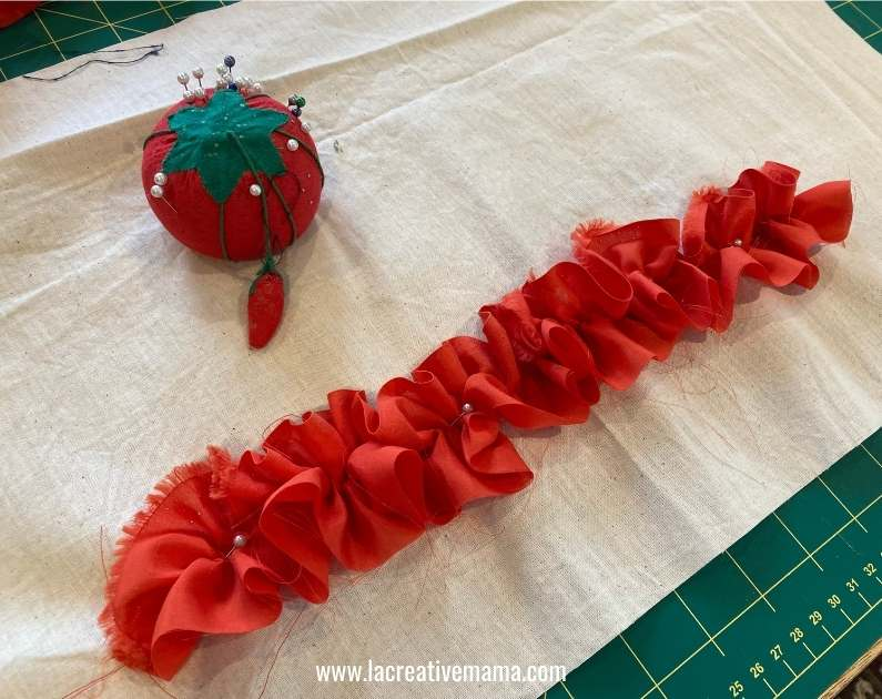creating texture on a  piece of fabric by making ruffles as part of fabric manipulation