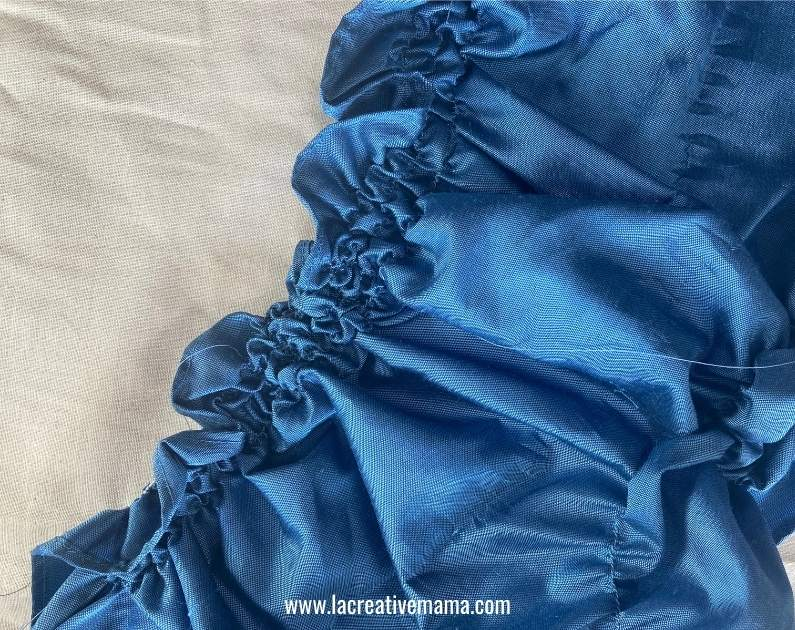 shirring technique on a piece of fabric