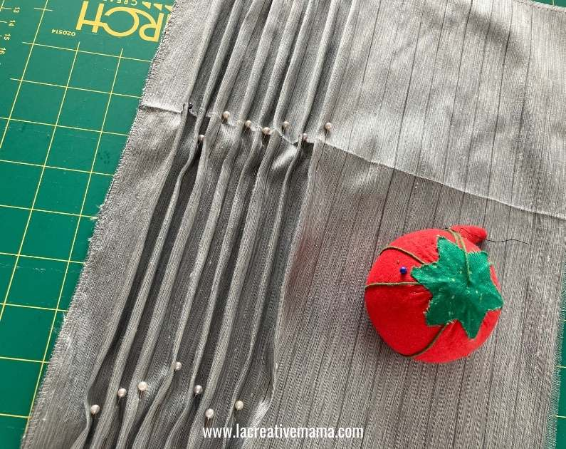 making spaced tucks on a  piece of fabric scarp
