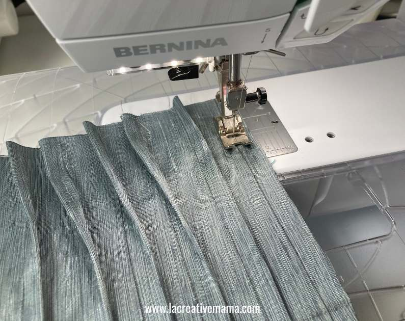 sewing  spaced tucks on a  piece of fabric